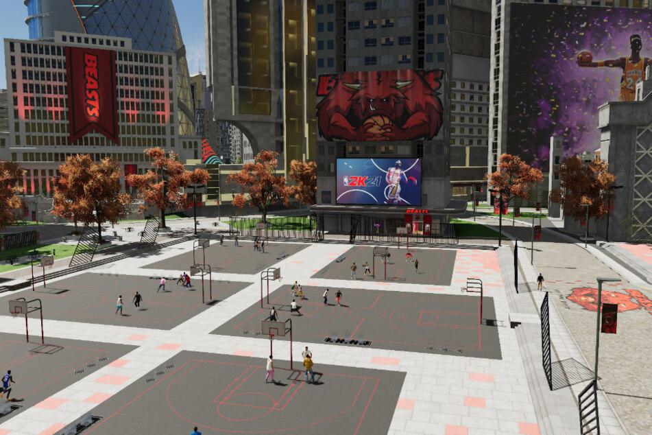"""Die neue Stadt ist in vier Viertel unterteilt, die um die Vorherrschaft kämpfen. Hier zocken Baller auf den Street-Court-Plätzen der """"Beasts of the East""""."""