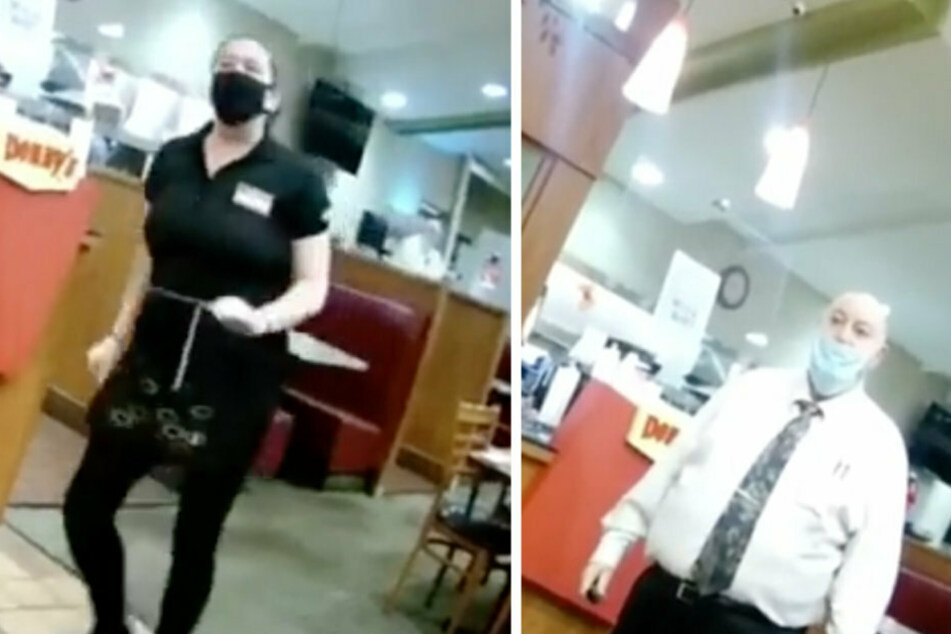 The waitress (l.) was ready to quit before the store manager intervened and asked the men to leave.