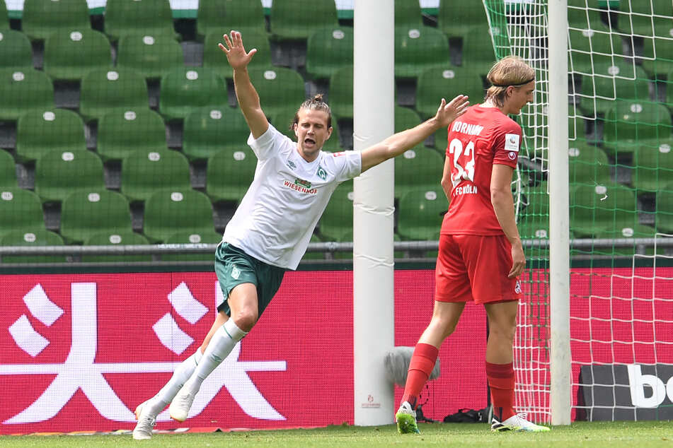 Werders Niclas Füllkrug jubelt nach seinem Tor zum 3:0 gegen Köln.