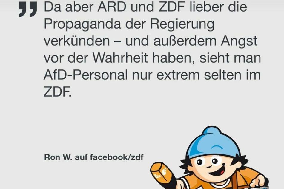 Diesmal beschwert sich Ron W. übers ZDF. Das schrieb er am Montag auf Facebook.
