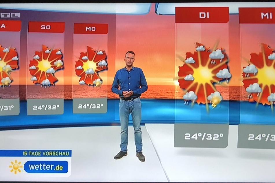 Dieses RTL-Bild wurde bereits 2019 in den sozialen Netzwerken verbreitet. Beschwert wurde sich, weil bei mittleren Temperaturen zu dunkle Rottöne verwendet wurden.