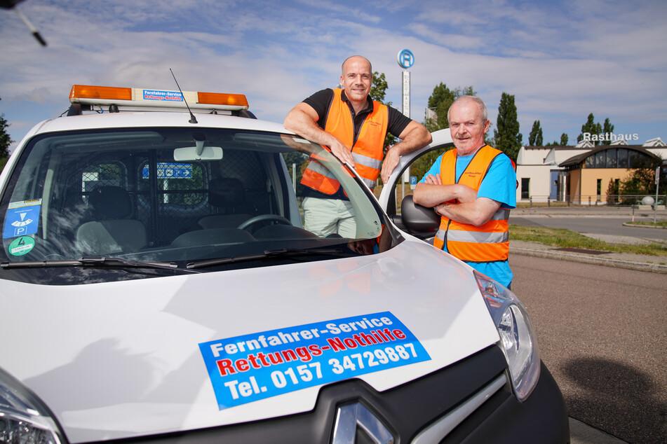 Andreas Seifried (38, l.) ist neu bei der Fernfahrer-Nothilfe, Bernd Treffkorn (67) hat den Service gegründet.