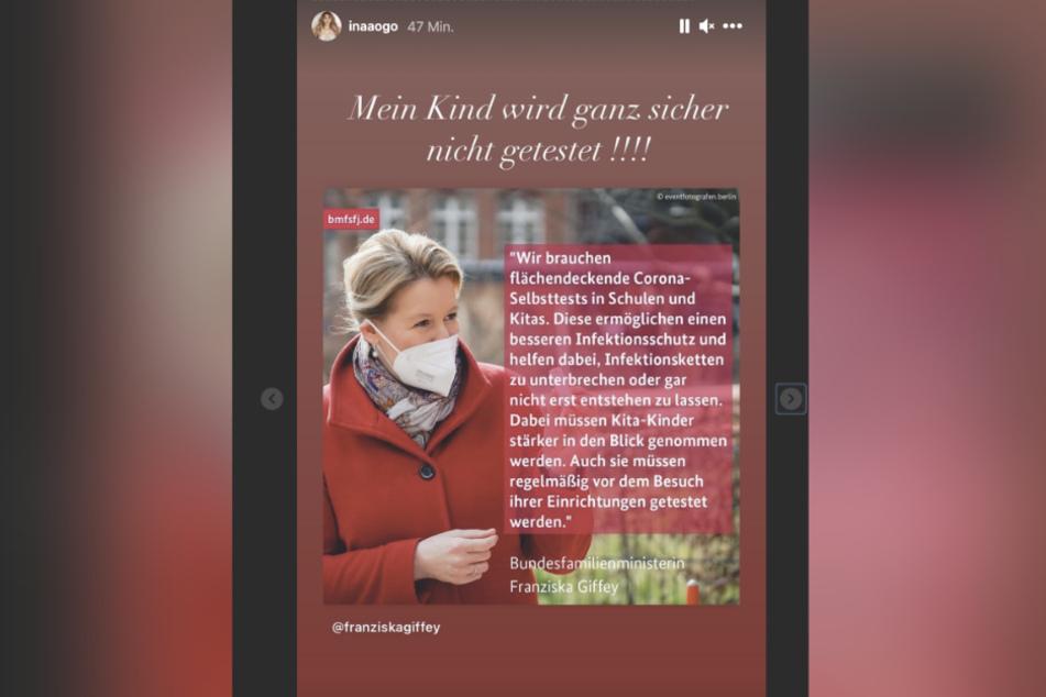 Auf Instagram macht Ina Aogo (32) klar, dass sie ihr Kind nicht testen lassen will.