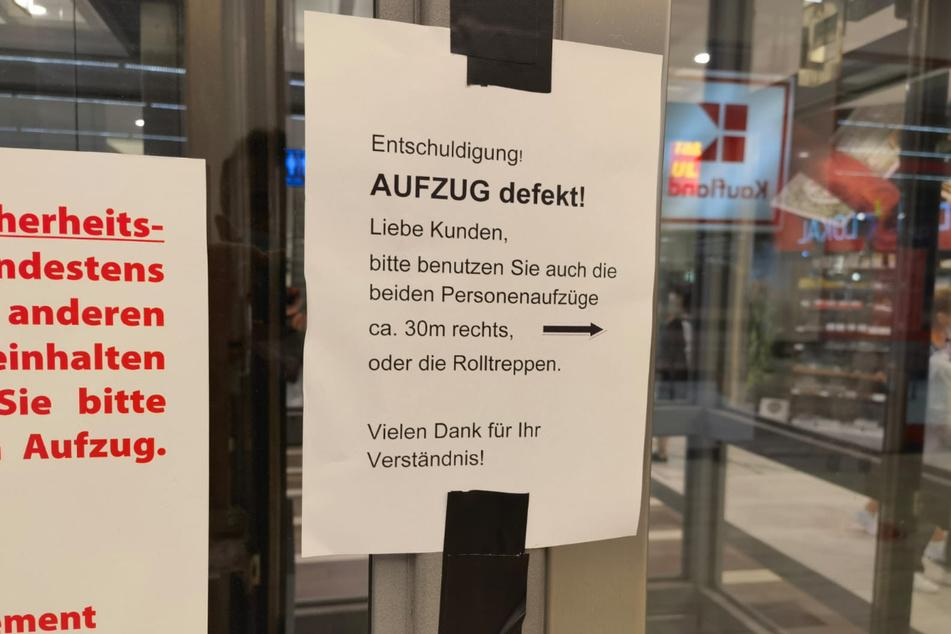Im Dresdner ElbePark können derzeit keinerlei Fahrstühle benutzt werden.