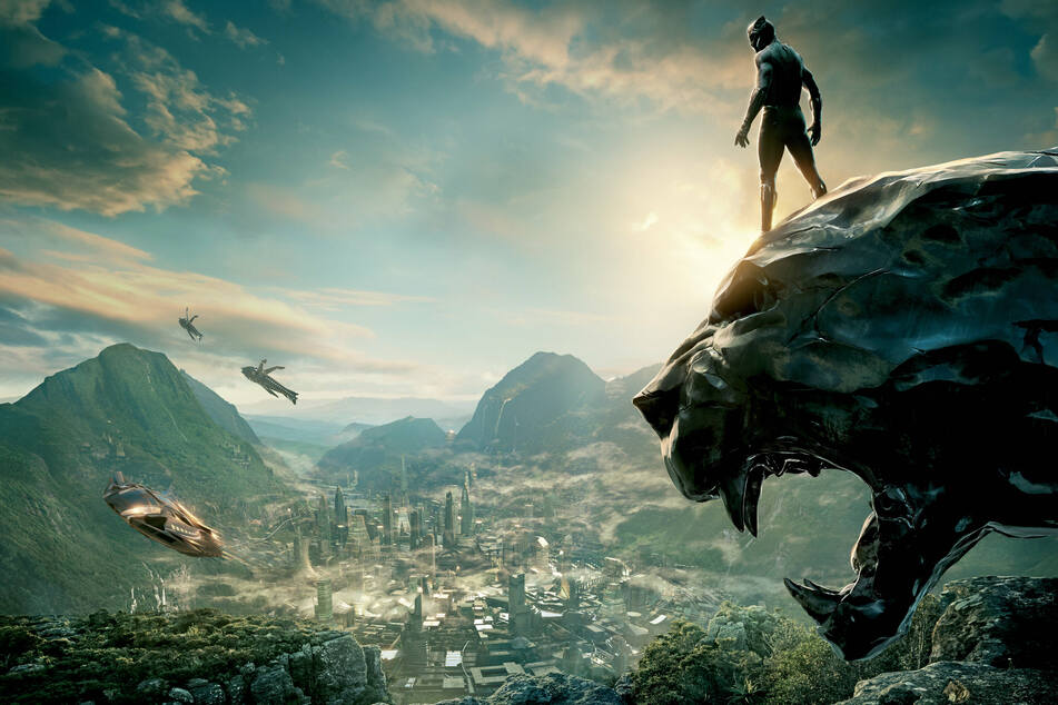 Black Panther overlooking the city of Wakanda in the titular film. The movie's lead actor, Chadwick Boseman, passed away in 2020.