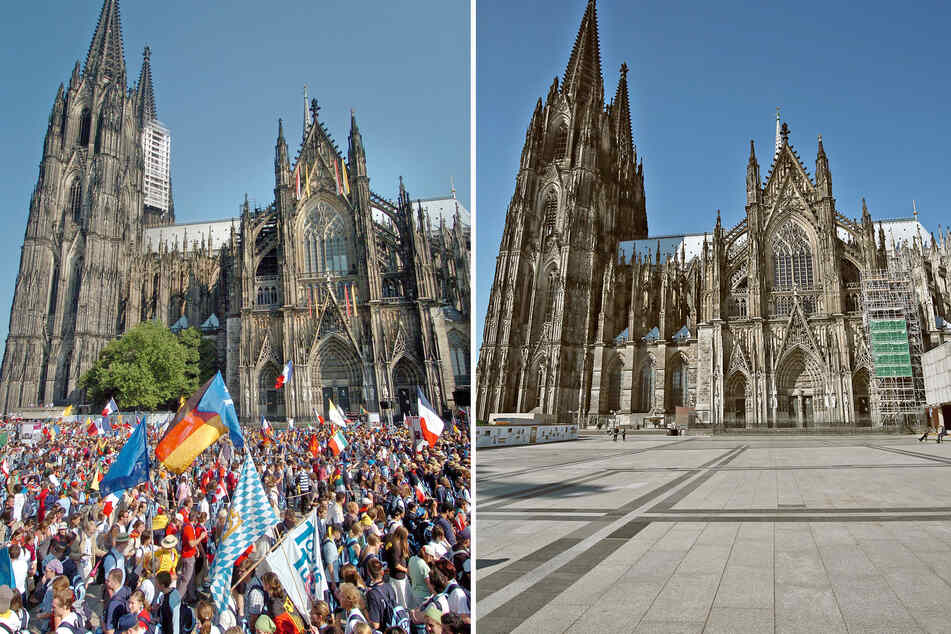 Der Roncalliplatz vor dem Kölner Dom bevölkert mit vielen Weltjugendtags-Pilgerern am Mittwoch, 17.8.2005 (l.) - und fast menschenleer am Mittwoch, den 1.4.2020.