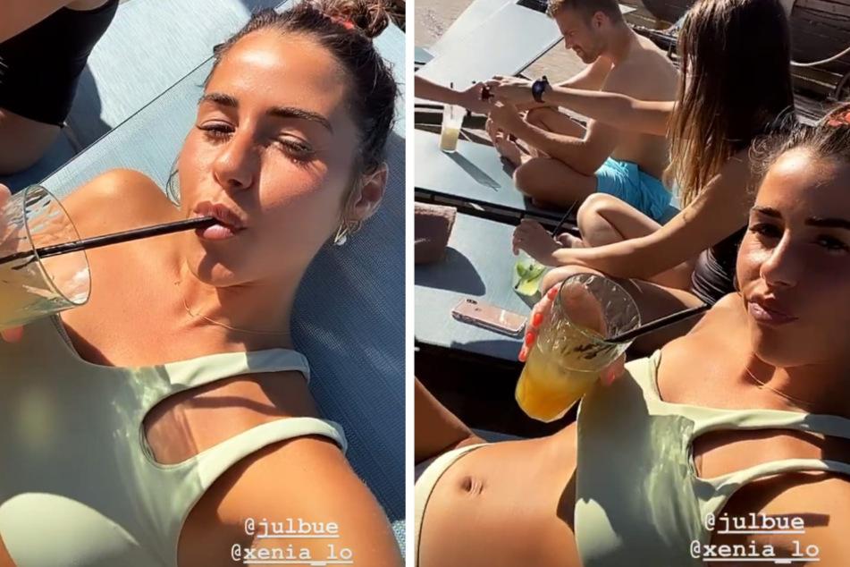 Sarah Lombardi (27) ist mit Sohn Alessio (5) und Freund Julian Büscher (27) in den Wasserrutschenpark gefahren. (Fotomontage)