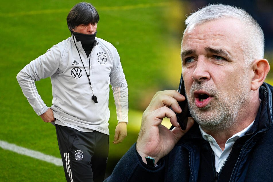 Jogi Löw hört nach der Europameisterschaft als Bundestrainer auf. Union-Präsident Dirk Zingler (r.) fordert bereits jetzt seinen Rücktritt. (Bildmontage)