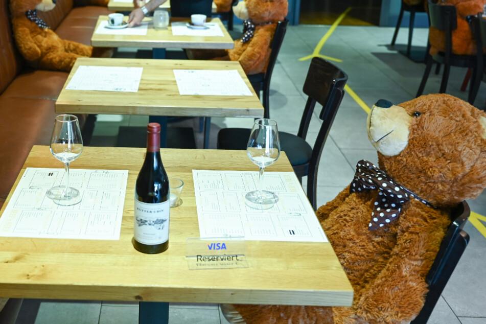 Bärenstark: Flauschige Zeitgenossen sorgen in Restaurant für den Corona-Mindestabstand