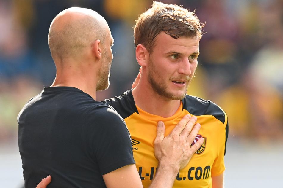 Dynamo-Coach Alexander Schmidt (l.) hält große Stücke auf Christoph Daferner.