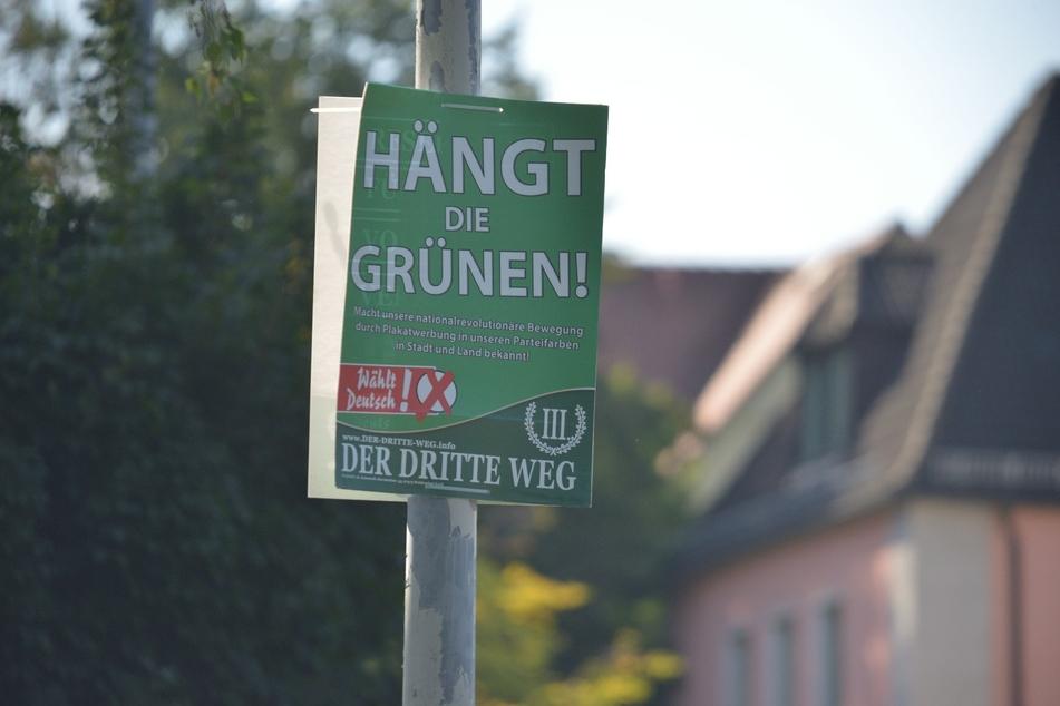 """Die rechtsextreme Splitterpartei III. Weg muss Wahlplakate, die den Aufdruck """"Hängt die Grünen!"""" tragen, entfernen."""