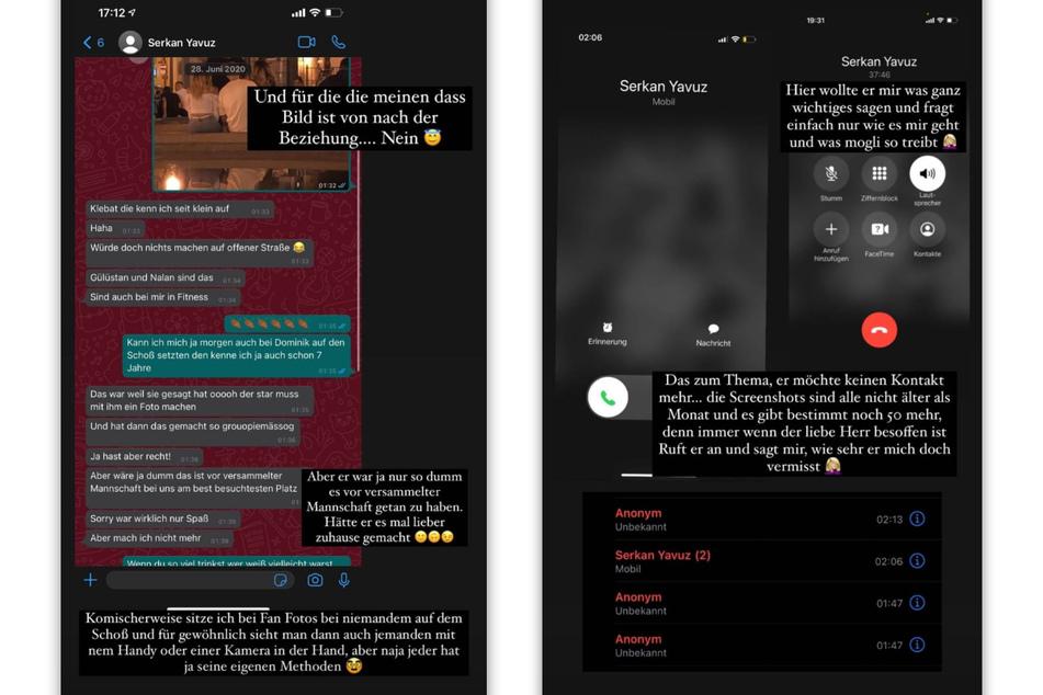 Carina Spack (25) teilt Screenshots von ihrer Anrufliste und einem privaten Chatverlauf mit ihrem Ex-Freund Serkan Yavuz (28). (Fotomontage)