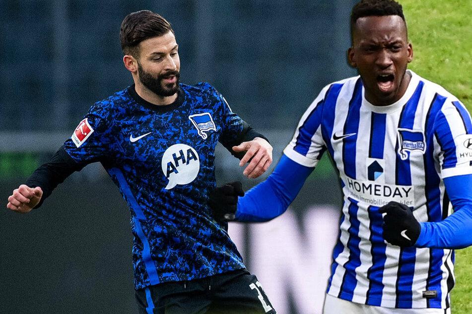 Die Hertha-Profis Marvin Plattenhardt (29, l.) und Dodi Lukebakio (23) dürfen aufgrund ihrer Corona-Erkrankung aktuell nicht am Training teilnehmen.