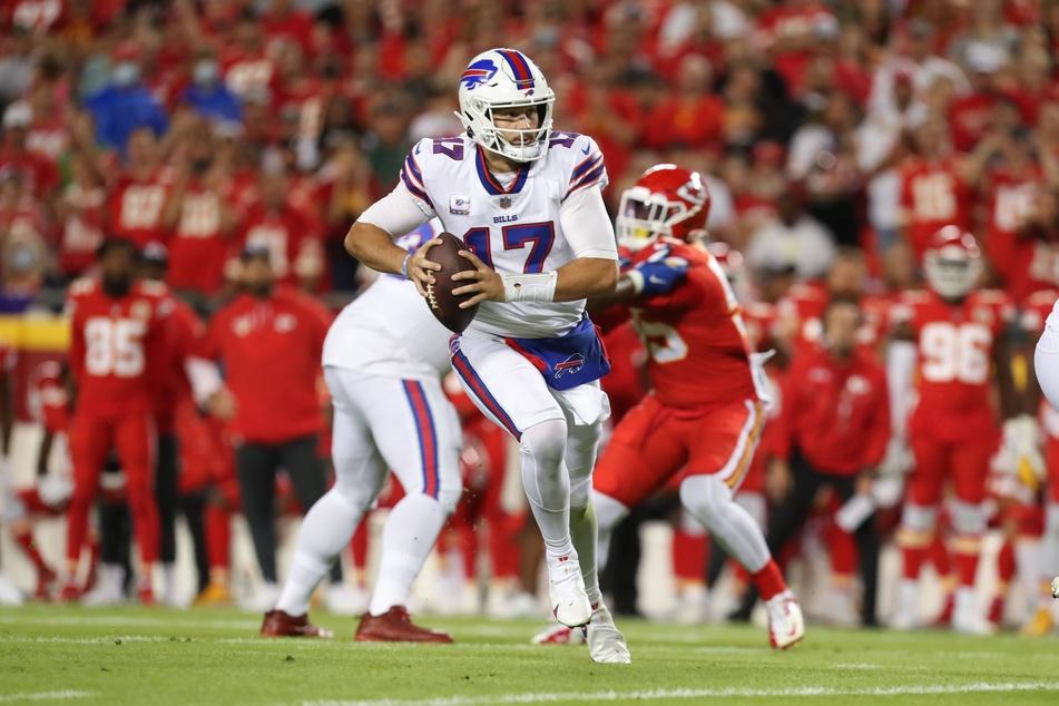 Bills quarterback Josh Allen threw three touchdowns and ran for another in Buffalo's Sunday night win over Kansas City.