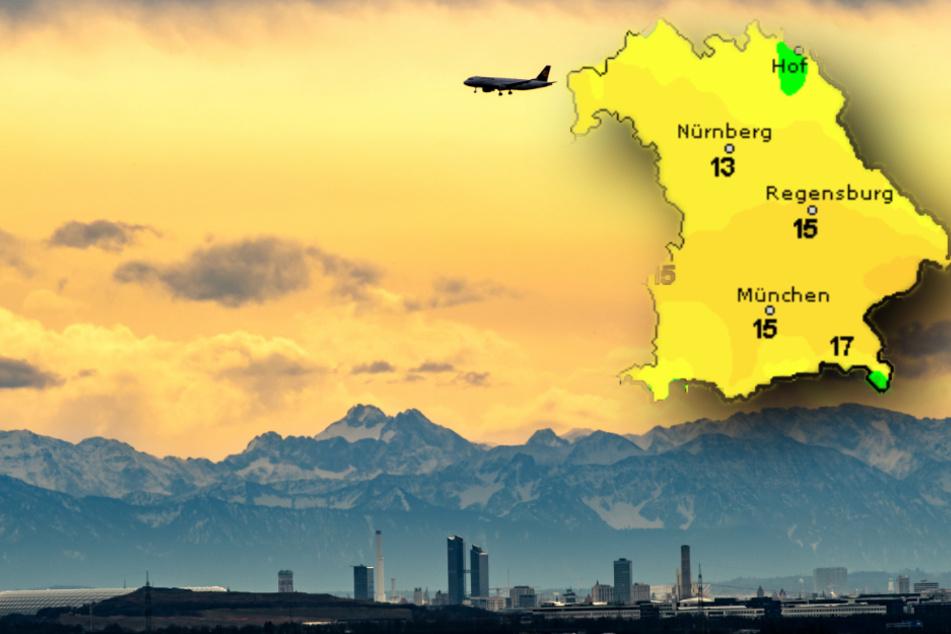 Milde Atlantikluft sorgt in Bayern für frühlingshafte Temperaturen. (Bildmontage)
