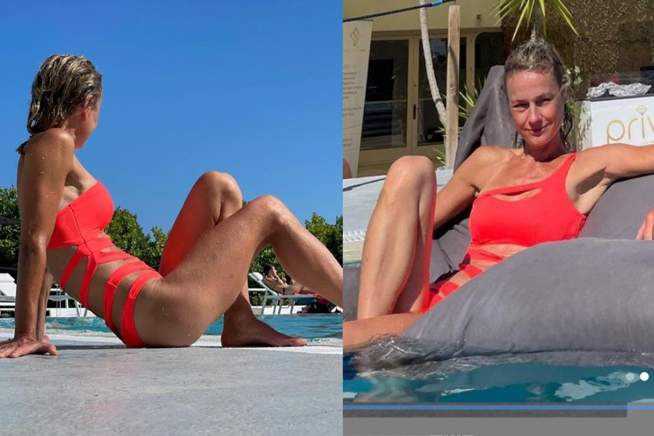 Die Schauspielerin Rhea Harder-Vennewald (45) genießt einen sonnigen Tag am Pool.