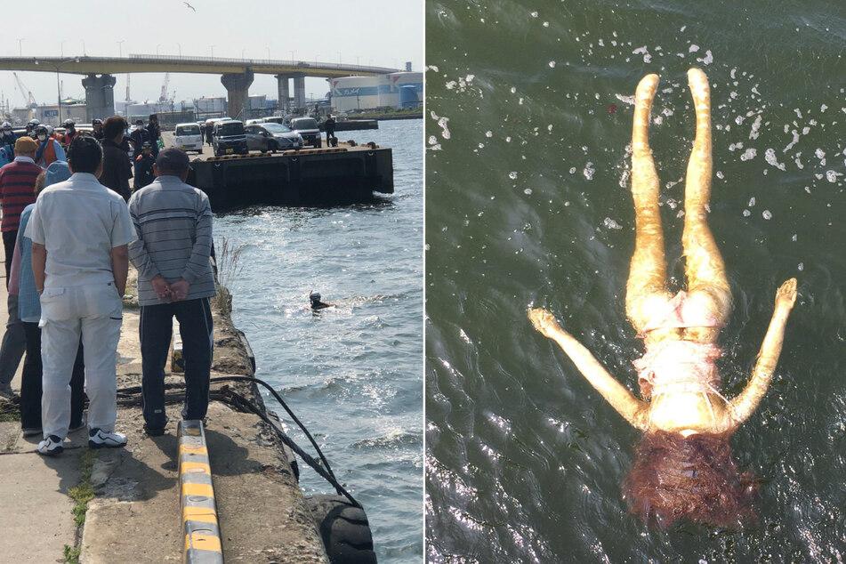 """Ein Rettungsteam wurde gerufen, um die """"Leiche"""" aus dem Wasser zu bergen. Die entpuppte sich schließlich als Sexpuppe."""