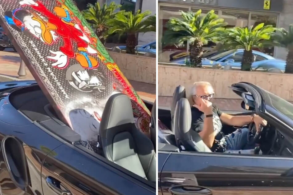 Robert Geiss (57) ist mit großer Fracht unterwegs. Auf der farbenfrohen XXL-Leinwand ist ein jubelnder Dagobert Duck zu sehen.
