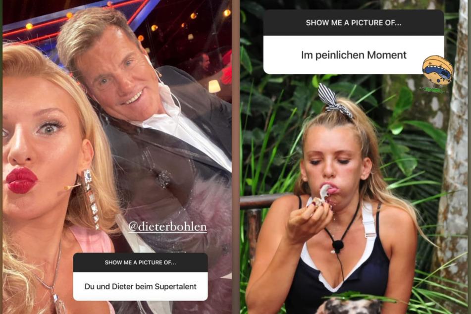 """Evelyn Burdecki (32) hat bei Instagram Fotos von ihrer Zeit beim """"Supertalent"""" und im Dschungelcamp geteilt. (Fotomontage)"""