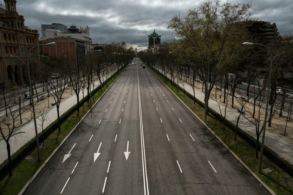Leere Straßen in Madrid.