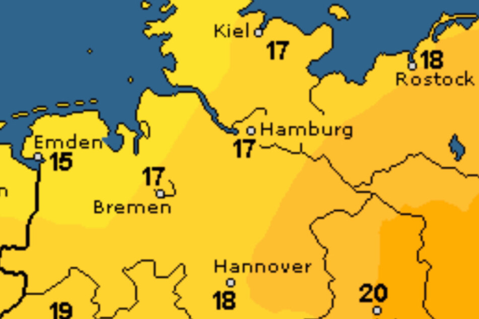 Die Temperaturen im Norden schwanken um die 15 Grad.