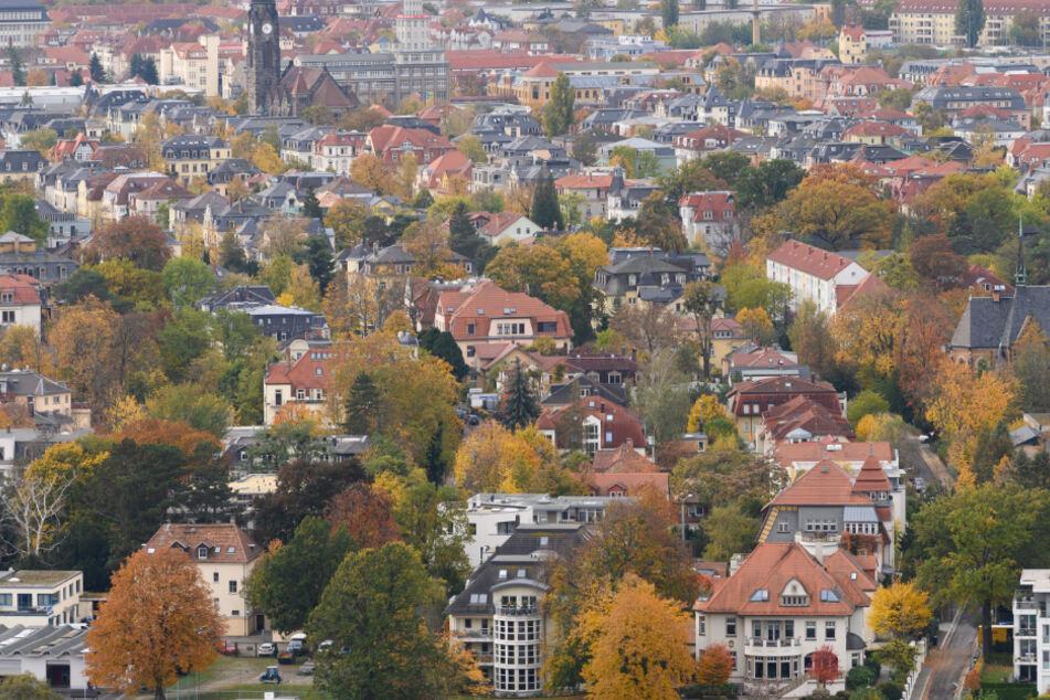 Ein Blick auf mehrere Häuser im Dresdner Stadtteil Blasewitz.