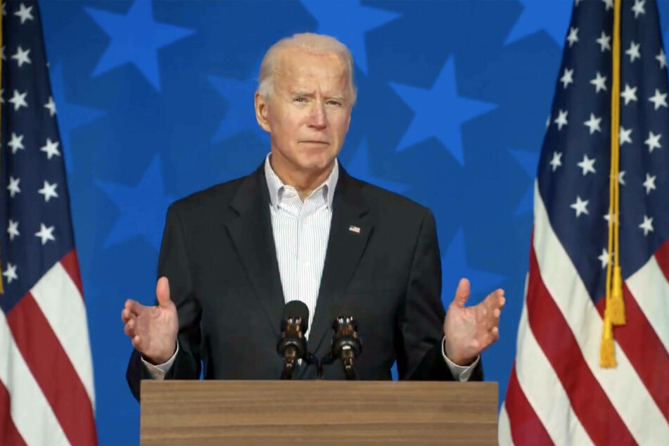 Joe Biden speaks at a press briefing in Wilmington, Delaware.
