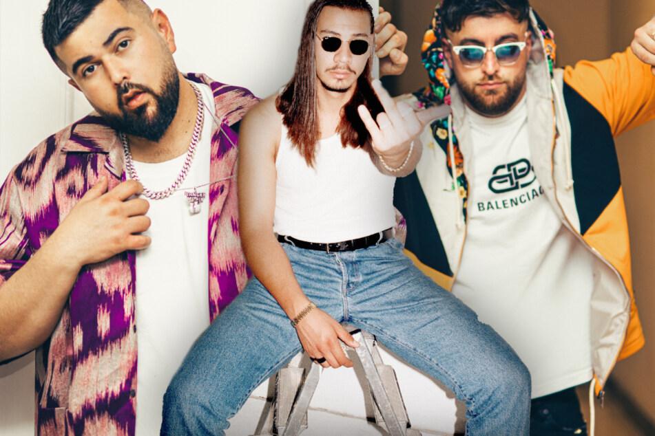 Fotomontage: Die Rapper Summer Cem (l.), Apache 207 (m.) und KC Rebell sind einige der Acts auf dem Wireless Germany Festival 2020.