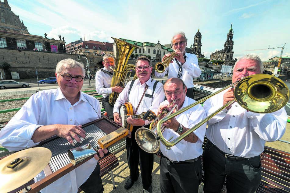 Die Dresdner Blue Wonder Jazz Band gehört zu den Urgesteinen des Dixieland Festivals.