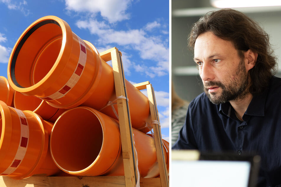 Auch Kunststoffrohre haben sich extrem verteuert und sind knapp. Stephan Schwarzbold (44) arbeitet als Freier Architekt und Energie-Berater für die Verbraucherzentrale Sachsen.