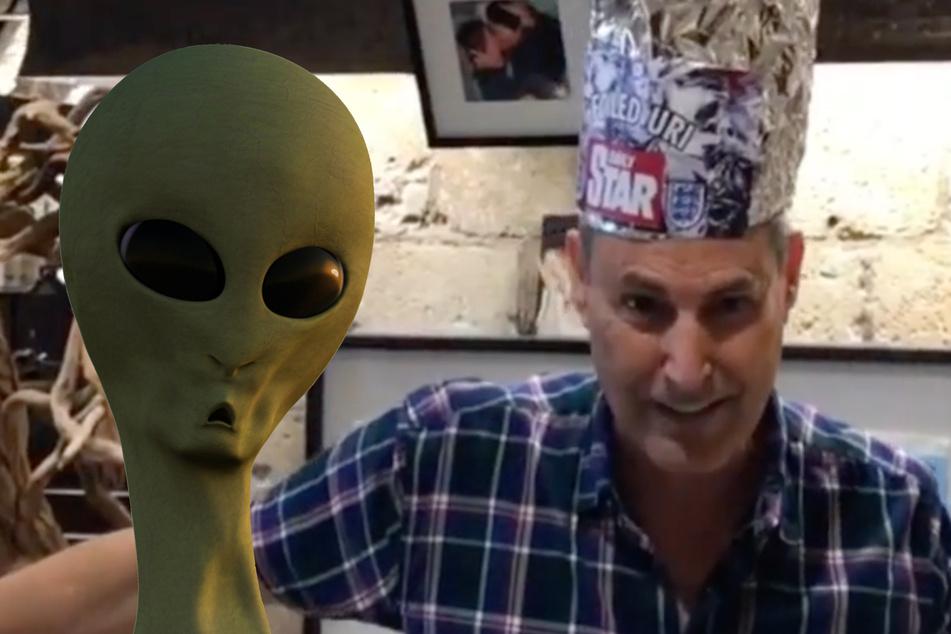 Uri Geller setzt sich selbst den Aluhut auf und berichtet von allerlei Infos, die er angeblich über Außerirdische angesammelt hat. (Bildmontage)
