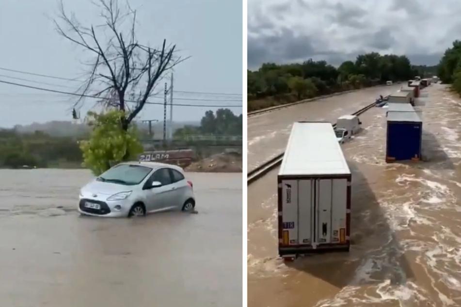 Tausende Autofahrer saßen inmitten der Wassermassen fest.