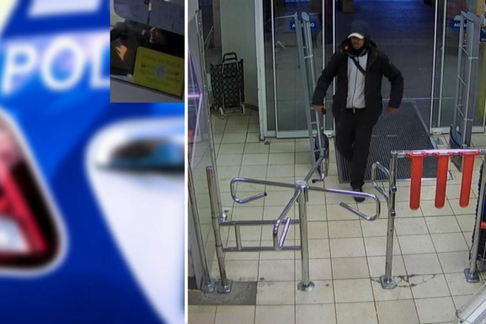 Mit dem Foto aus einer Überwachungskamera sucht die Polizei Berlin einen unbekannten Räuber.
