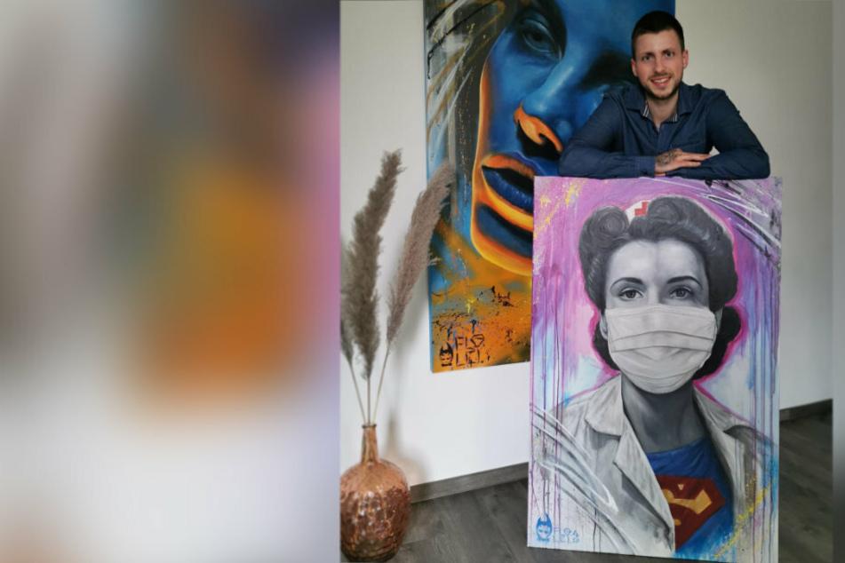 Banksy als Vorbild: Zwickauer macht Krankenschwester zur Superheldin