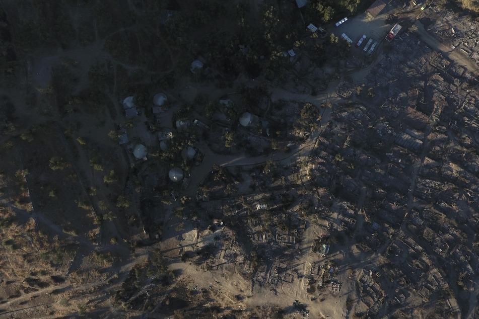 Das Lager in Moria aus der Luft. Ein Feuer zerstörte es nahezu vollständig.
