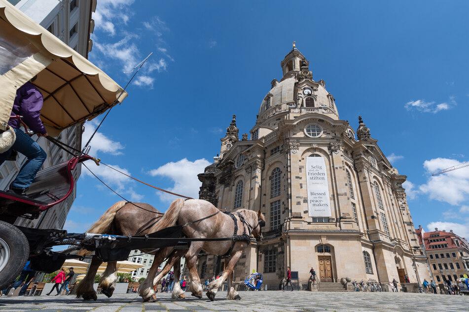 Eine Pferdekutsche fährt auf dem Neumarkt vor der Frauenkirche entlang. (Archivbild)