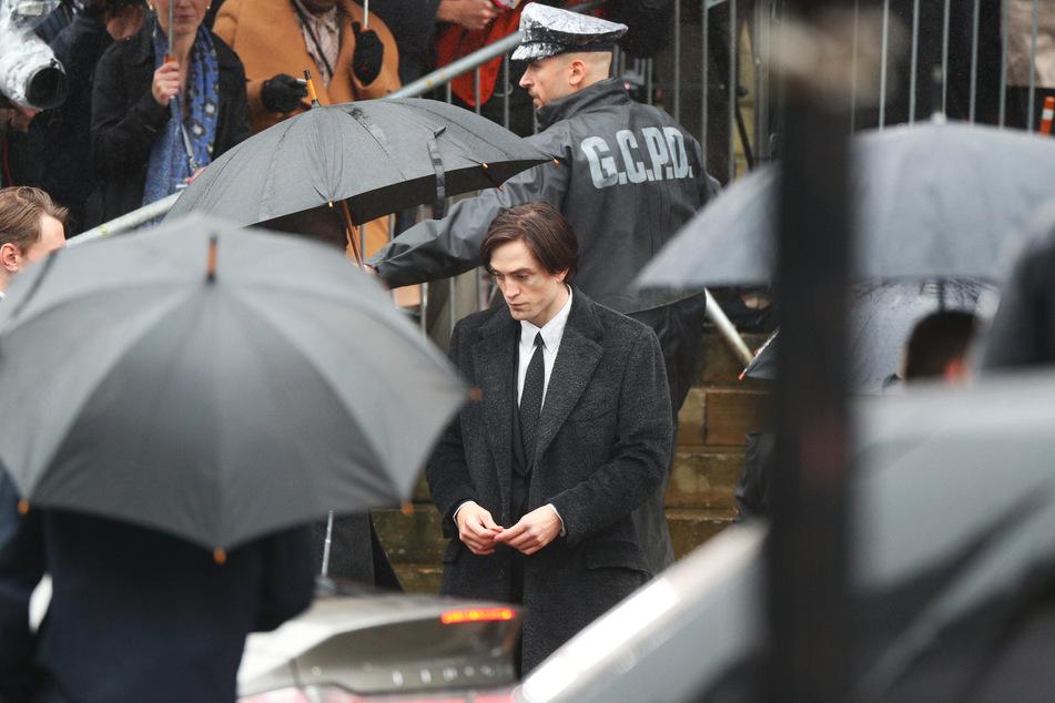 Robert Pattinson on the film set.