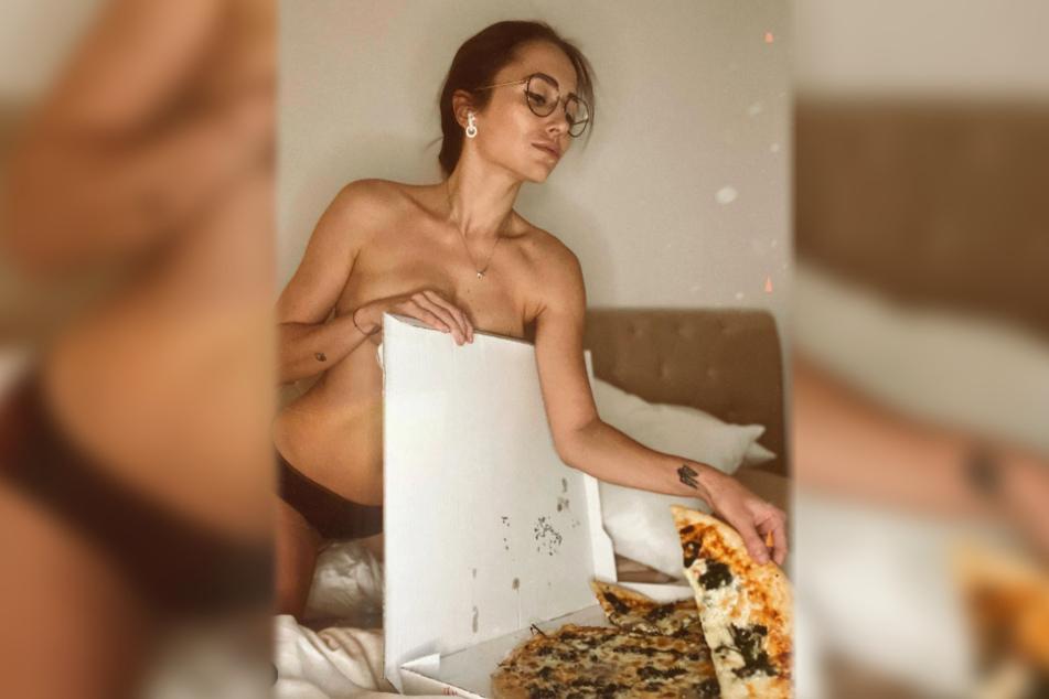 Anastasiya Avilova ließ sich am Sonntag eine Pizza schmecken.