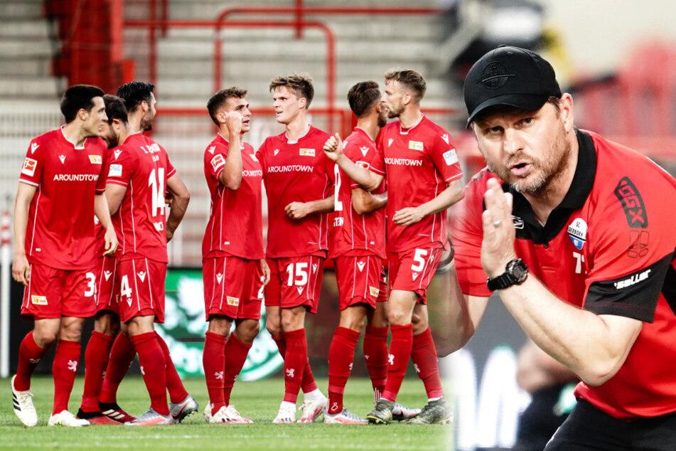Steffen Baumgart (r.), Ex-Union-Profi und aktueller SCP-Trainer, stieg nach der 0:1-Pleite bei Union endgültig in die 2. Liga ab, während die Eisernen den Klassenerhalt feiern konnten.