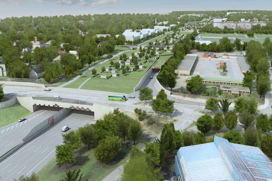 Die Visualisierung zeigt das Südportal des geplanten Autobahndeckels Altona über der Autobahn A7.