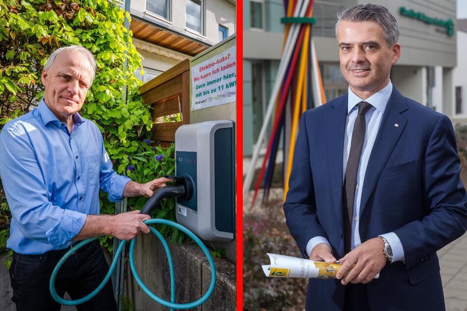 Grünen-Stadtrat Bernhard Herrmann (55, l.) hat schon seine Wallbox vor dem Haus - gespeist vom Solarstrom auf dem Dach. Ringo Lottig (55) bringt die Chemnitzer Siedlungsgemeinschaft auf den ökologischen Weg.