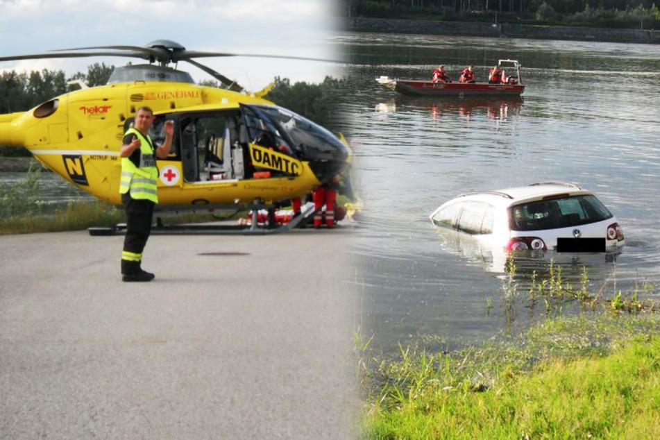 Auto mit Pflegebedürftiger rollt in Fluss: Hubschrauber, Boot und Taucher im Einsatz!