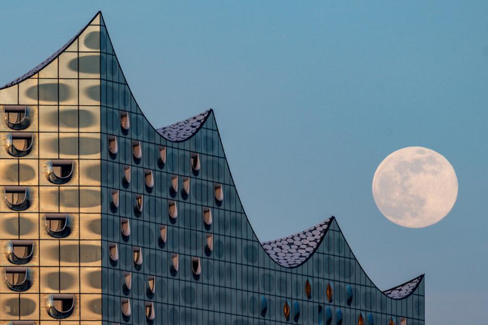 Der Mond geht über der Elbphilharmonie auf. Wann gibt es hier wieder Kulturveranstaltungen mit Publikum?