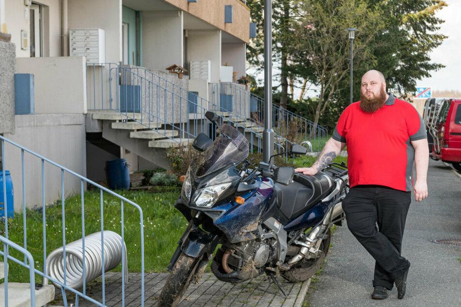 Das Motorrad von Patrick Siebelt (32) wurde sinnloserweise von Dieben demoliert.
