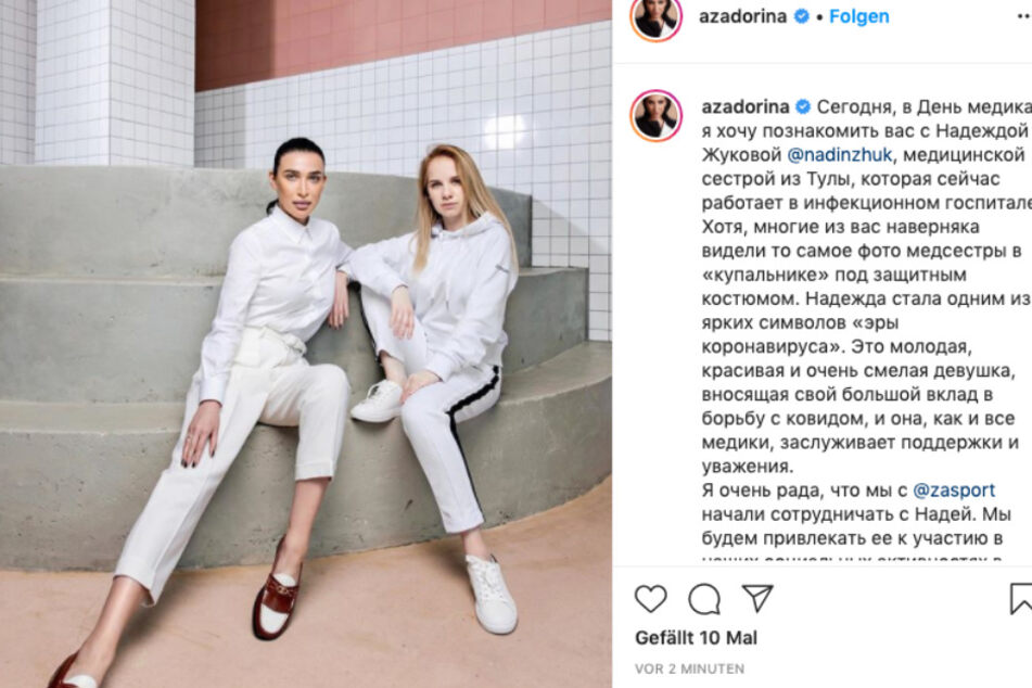 """Stolz präsentiert Anastasia Zadorina (l) ihr neues Gesicht Model-Nadia: """"Ich bin sehr froh, dass @zasport und ich die Zusammenarbeit mit Nadia begonnen haben."""""""