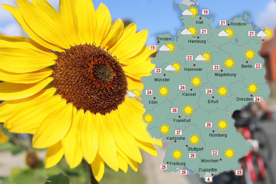 Mindestens bis Mitte kommender Woche bleibt es in Deutschland spätsommerlich warm.