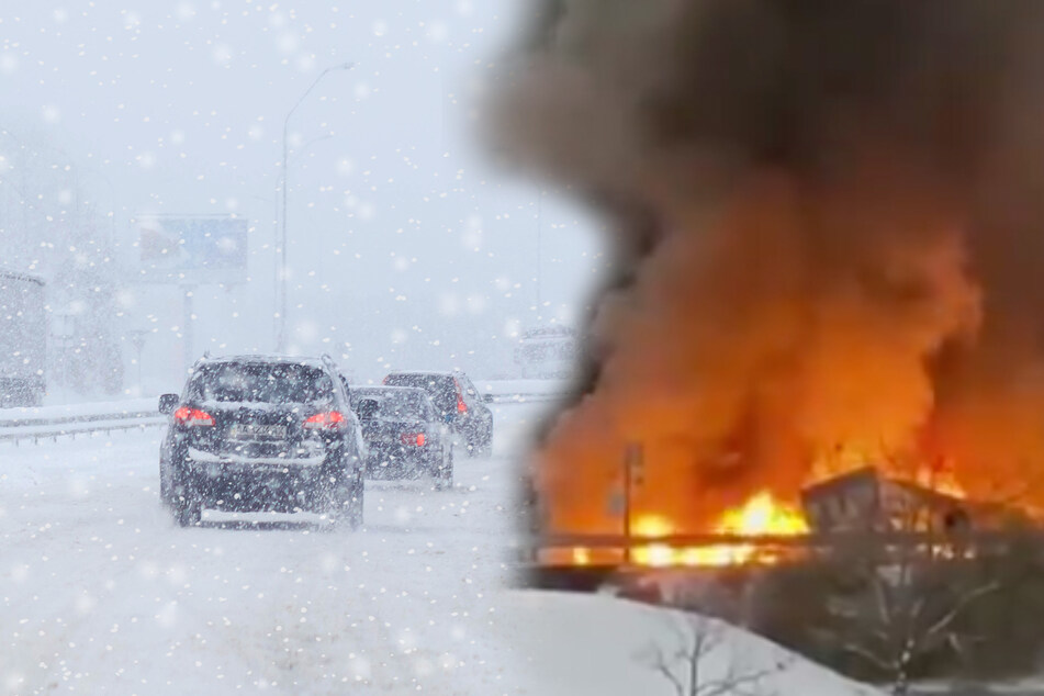 Riesiger Unfall auf der Autobahn: Ein Fahrer stirbt, sieben Fahrzeuge brennen