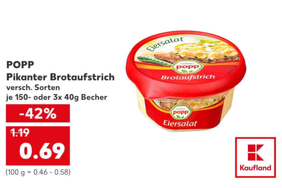 POPP Pikanter Brotaufstrich für nur 0,69 Euro.
