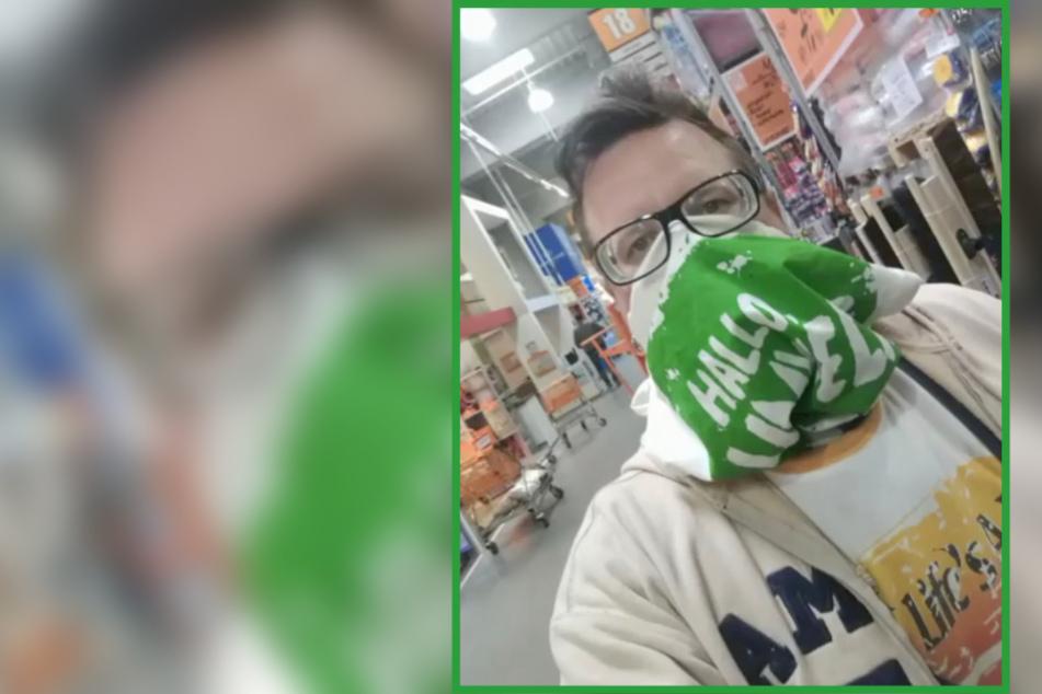 Maske vergessen, aber Mundstuhl-Lars weiß sich zu helfen