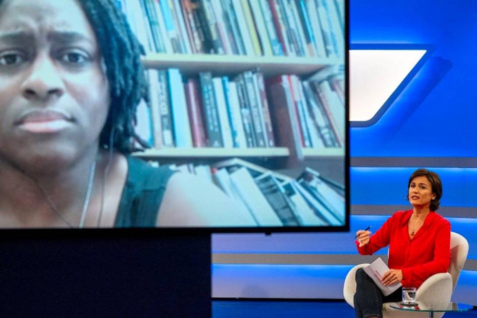 Priscilla Layne via Video-Schalte im Gespräch mit Sandra Maischberger.